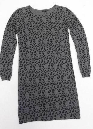 Трикотажное тонкое платье леопардового принта.