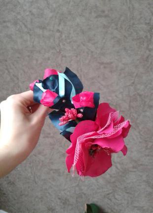 Розовый обруч, веночек, ободок, канзаши