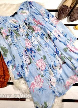 Красивая голубая блузка туника вискоза