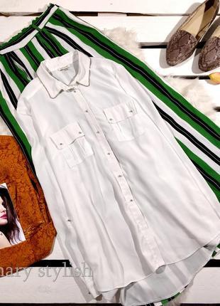 Белая блузка с длинным руквом плотный шифон