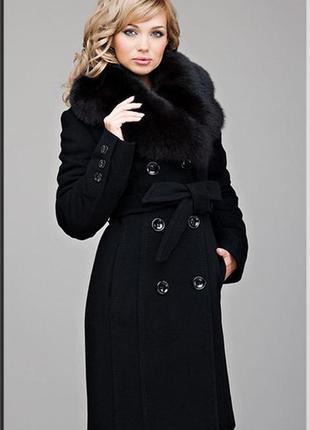 Зимнее пальто от nui very с натуральным мехом песца