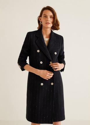 Шикарное двубортное шерстяное пальто mango, шерстяне пальто