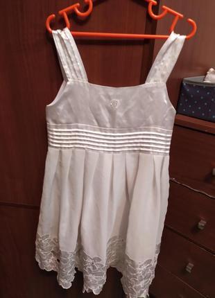 Нарядное пышное свободное белое платье сарафан  с цветами стразы декор, обмен торг