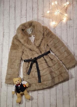 Меховая шубка искусственный мех шуба пальто из эко меха с кожаным пояском р. xl - xxl