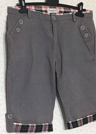 Стильные коттоновые штанишки с подворотами