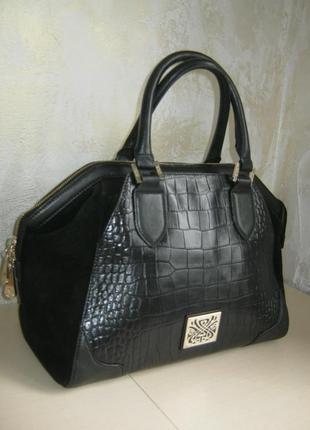 Biba оригинал шикарная большая кожаная сумка саквояж кожа с замшевыми вставками