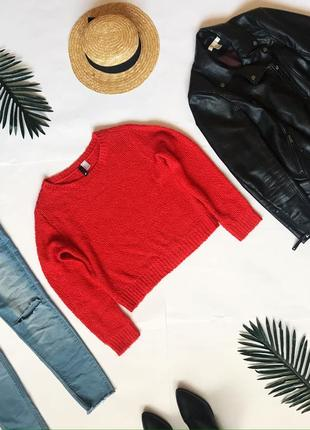 Короткий свитер джемпер красный от h&m. м