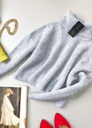 Укороченный оверсайз свитер травка с горлышком new look