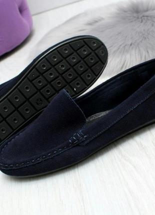 Стильные синие и черные удобные замшевые балетки мокасины натуральная замша