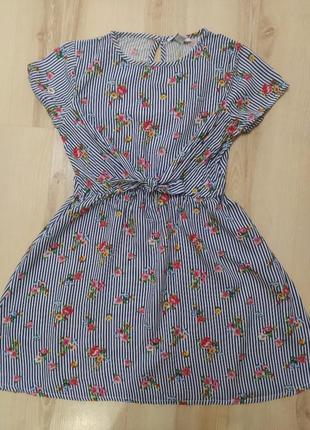 Легкий полоска,цветочный принт сарафан,платье primark 10-11лет