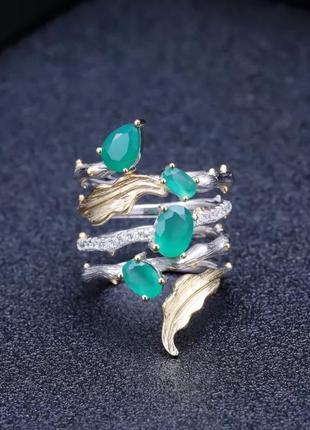 Шикарное серебрянное кольцо с натуральным агатом