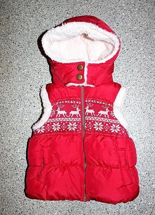 Очень тёплая жилетка одежда 3-4 года next