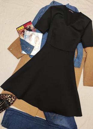 Чёрное большое батальное платье со свободной юбкой классическое миди базовое collection