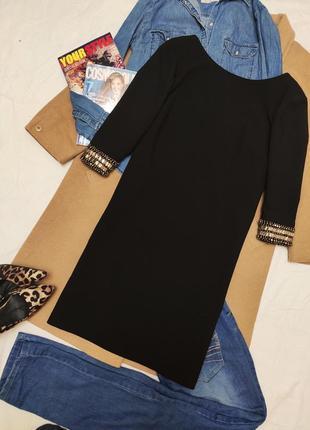 Платье чёрное прямое классическое элегантное с камнями на рукавах на подкладке next