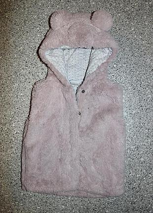 Меховая жилетка с ушками одежда 2-3 года next