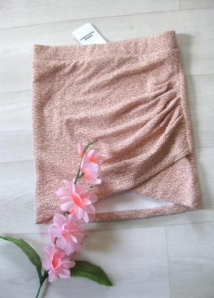 Юбка ganni мини розовая оранжевая со сборкой