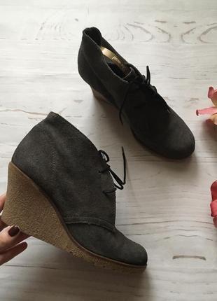 Замшевые ботинки на платформе/натуральный замш(38р)