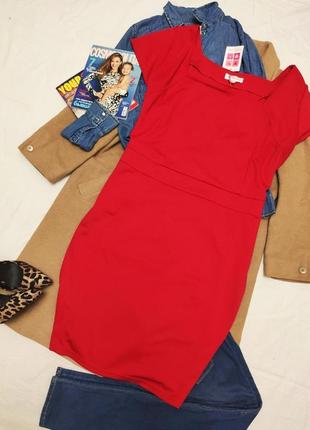 Красное алое большое батал платье трикотажное классическое миди glamorosa новое с биркой
