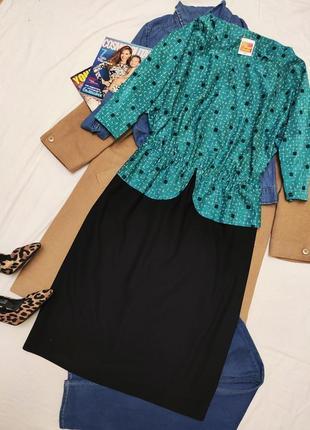 Платье классическое чёрное бирюзовое миди большое батал рукав три четверти с баской