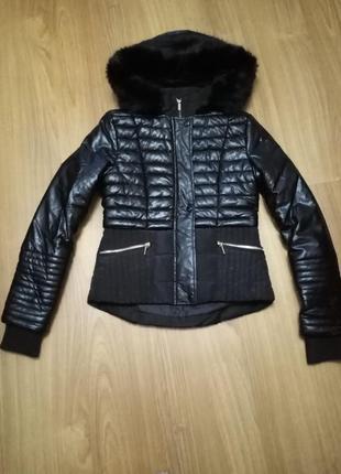 Кожаная стеганая куртка с капюшоном zebra