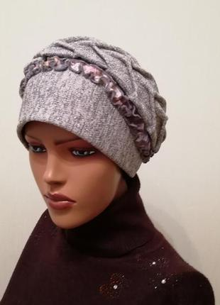 Шикарная шапка чалма весна 2020 серебро