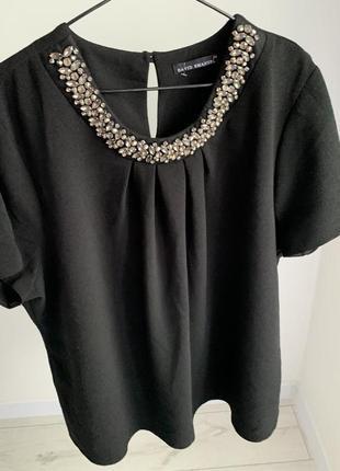 Блузка чорна з камінчиками, блузка david emanuel, святкова футболка.