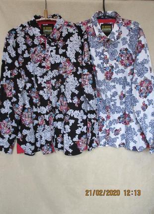 Стильная рубашка цветочный принт/длинный рукав/хлопковая