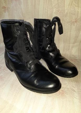 Чёрные ботиночки со шнуровкой и молнией на низком ходу