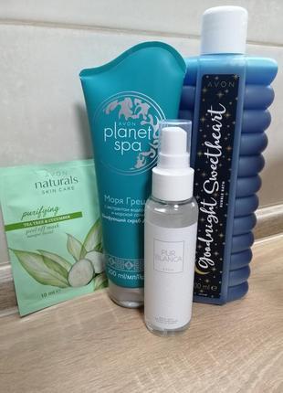 Набор avon пена для ванн скраб для тела маска для лица парфюмированный спрей для тела