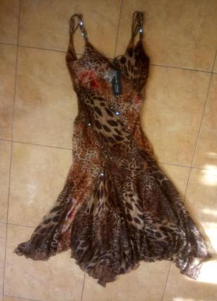 Шикарное платье сарафан 100 % шелк франция