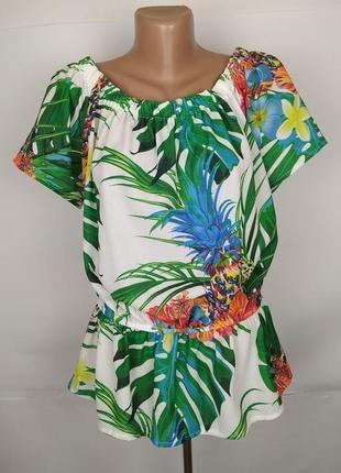 Блуза новая красивая в тропический принт quiz uk 16/44/xl