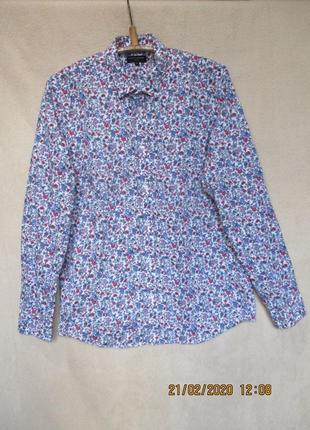 Стильная рубашка в мелкий цветочный принт/длинный рукав/хлопковая