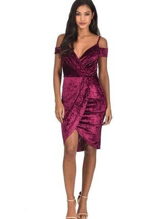 Велюровое бордовое платье с открытыми плечами миди вечернее большое ax paris