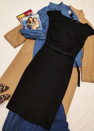 Чёрное классическое платье миди с поясом на подкладке новое с биркой с узором m&co