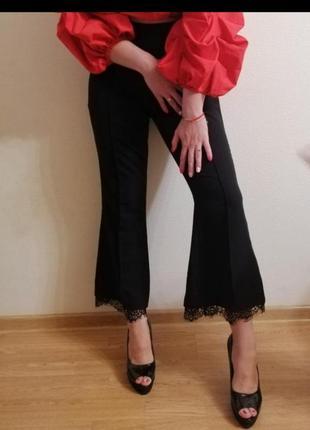 Штаны широкие клеш палаццо короткие брюки с кружевом ажуром