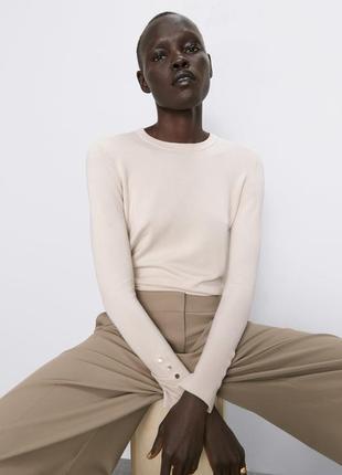 Новый базовый кремовый свитер zara