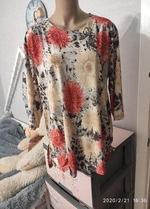 Натуральная вискозная блуза, трикотаж-масло, пог-57