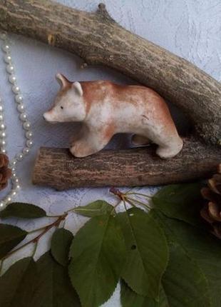 Статуэтка медведица, 40-е годы, гжель, турыгино из бисквитного фарфора ссср, медведь
