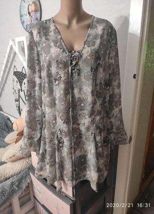Шикарная шифоновая блуза от немецкого бренда sheego, 22 размер