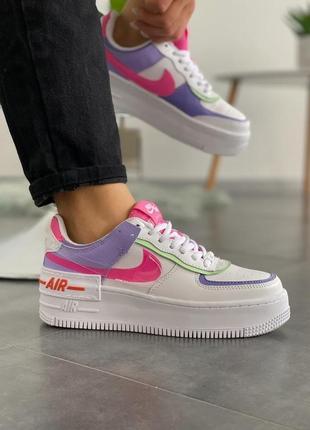 "Nike air force 1 ""shadow"" double swoosh sail pink purple женские кроссовки найк аир  форс"