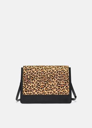 Кожаная сумка в леопардовый принт zara