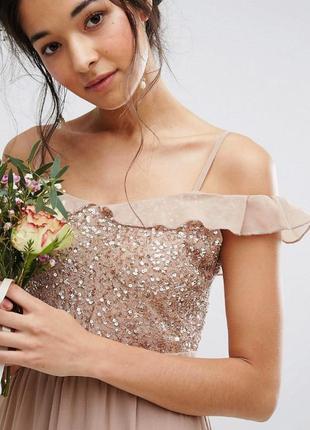 Полная распродажа вечерних платьев!!! платье макси с паетками нюд карамель
