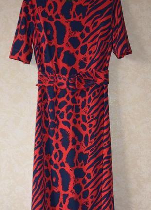 Шикарное красное платье миди с поясом next