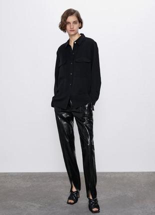 Стильная черная рубашка новой коллекции zara