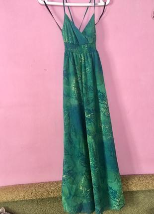 Шикарный сарафан зелено синий с подкладкой платье длинное