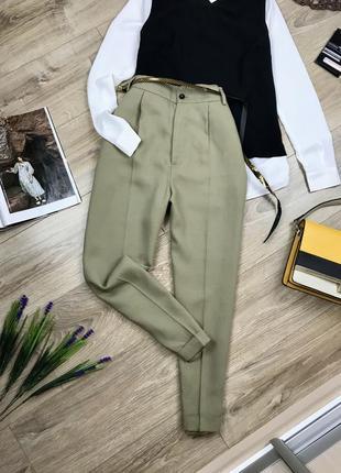 Zara идеальные брюки со стрелками на высокой посадке
