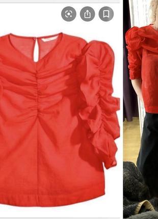 Продам трендовую блузку из органзы с обьемным рукавом h&m
