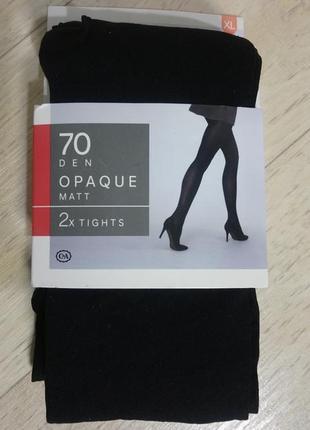 New!чёрные матовые колготки 70 den c&a сток размер xl 48-50 двое колгот в упаковке