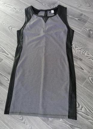 Плаття зі вставками шкіро замінника