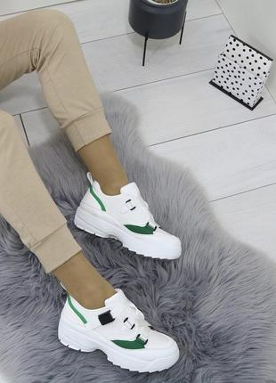 Белые кроссовки ботинки кеды слипоны на платформе и ремешках